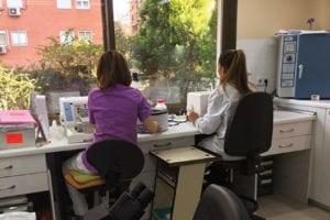 Zona de preparación y tinción muestras.