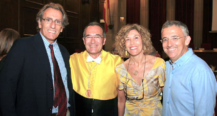 (De izq. a dcha.) Pere Riutord, Ustrell, Sebastiana Arroyo y Carlos Subirá.
