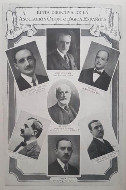 Primera junta directiva de la Asociación Española de Odontología.